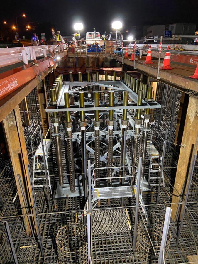 1号清水立体高架橋下部工アンカーボルト設置